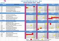Lịch sự kiện năm học 2018 - 2019